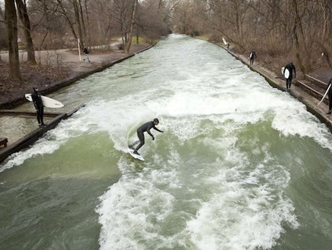 Surfing the Eisbach Wave, Munich, Germany