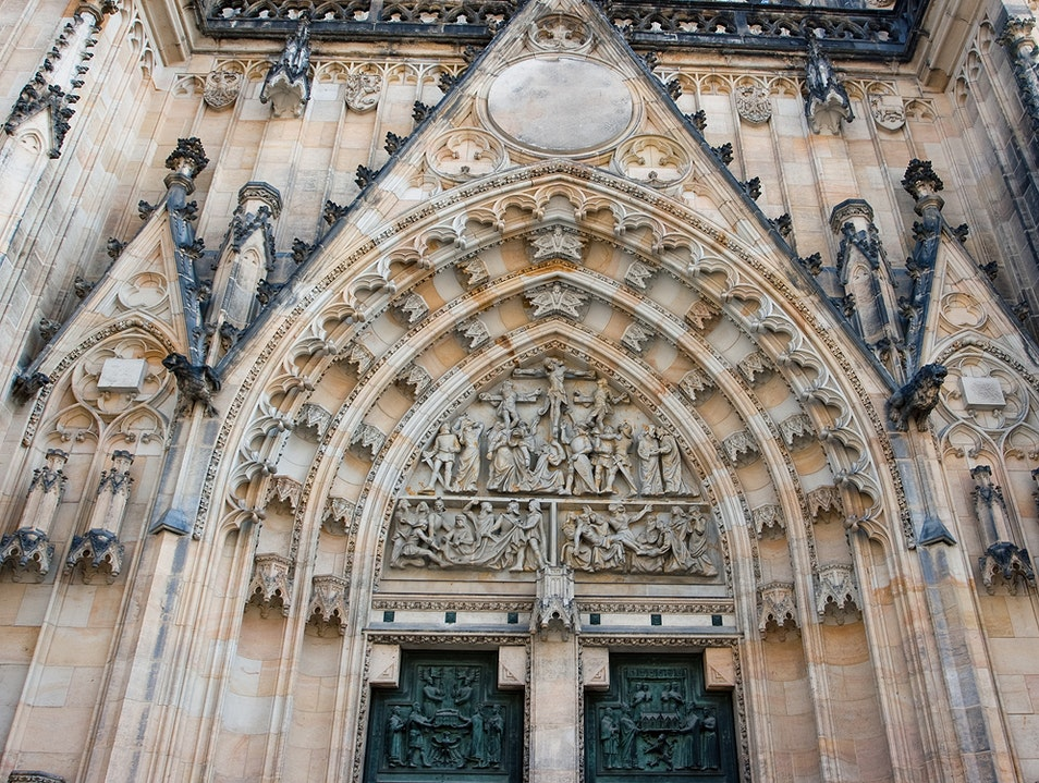 The facade of St. Vitus Cathedral Prague  Czech Republic