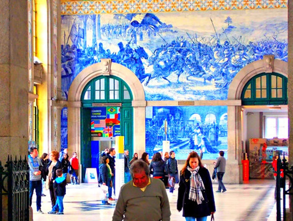 Impressive train station Porto  Portugal