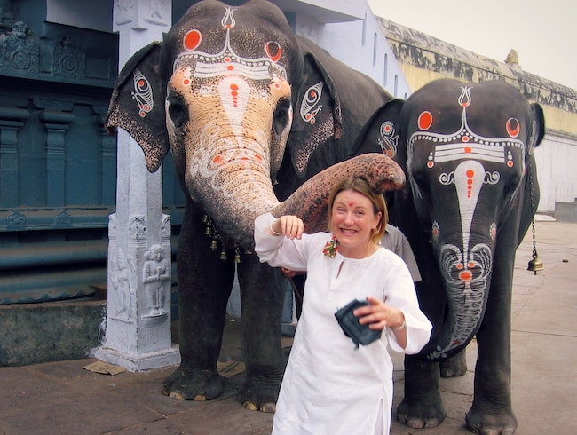 Surprise blessing from temple elephant