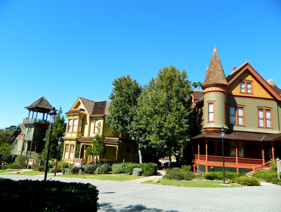 Park showcasing Victorian homes in Old Town San Diego California United States