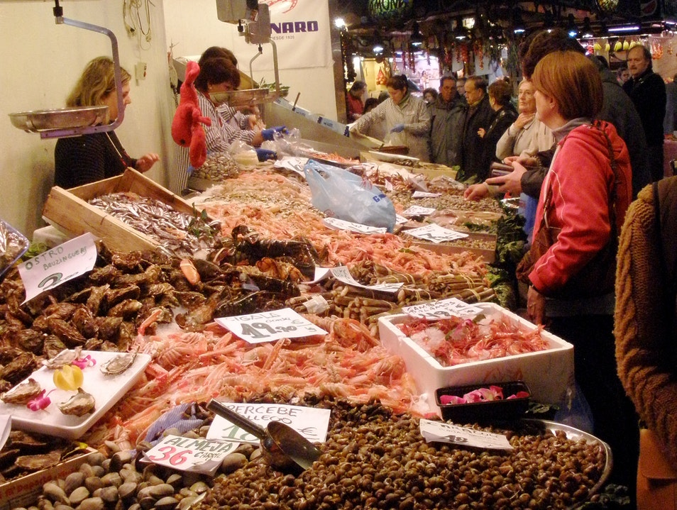 Fish Stall at the Boqueria Barcelona  Spain
