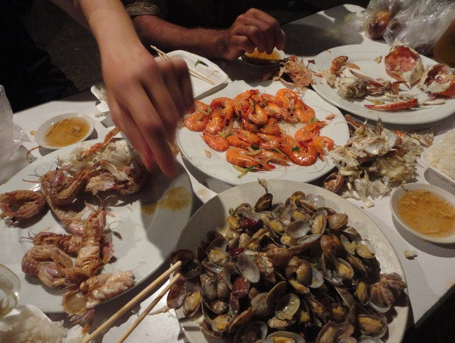 Seafood on food street