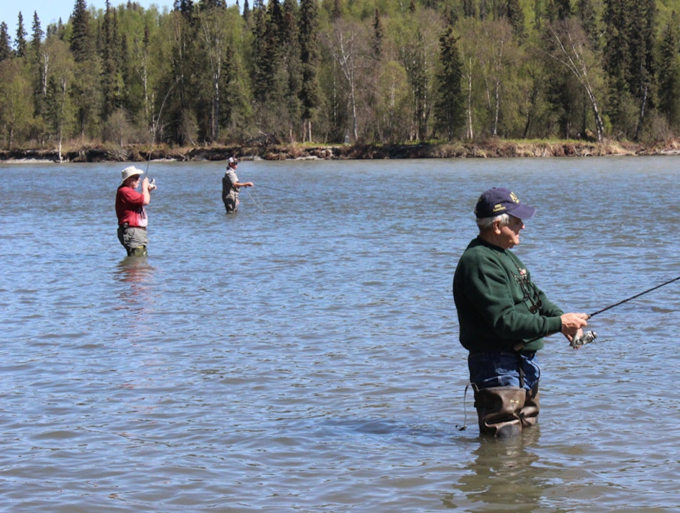 Fishing for Rainbow Trout Talkeetna Alaska United States