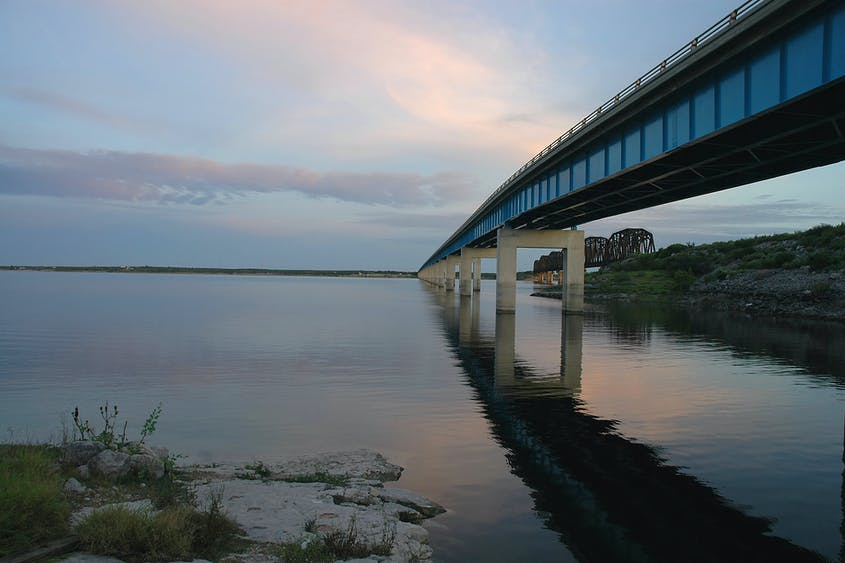 The Sunset Limited passes over the Amistad Reservoir in western Texas.