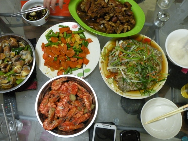 Sea food taste with local Chinese descendants' family