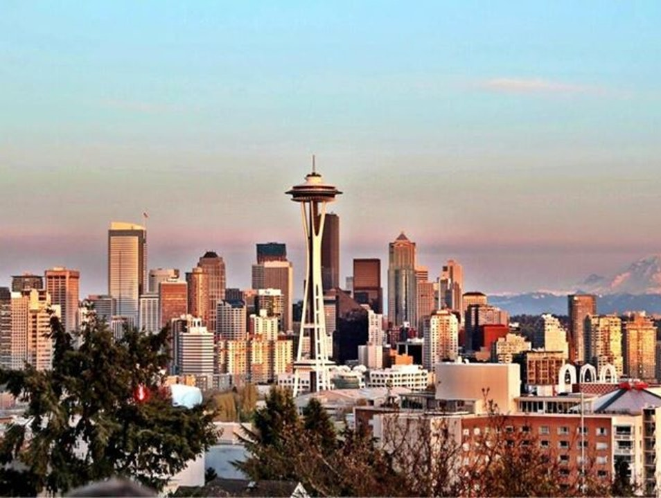 Downtown Seattle and Mt. Rainier  Seattle Washington United States