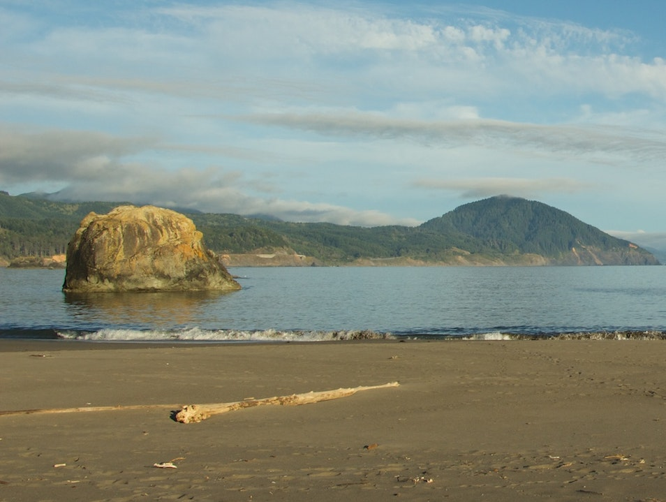 A Quiet Port-Side Beach With A View Down The Coast Port Orford Oregon United States