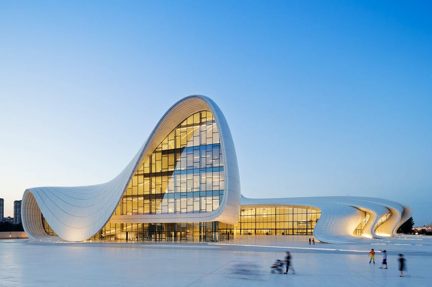 The Heydar Aliyev Center in Baku, Azerbaijan, was designed as a symbol of the country's modernization and independence from the Soviet Union.
