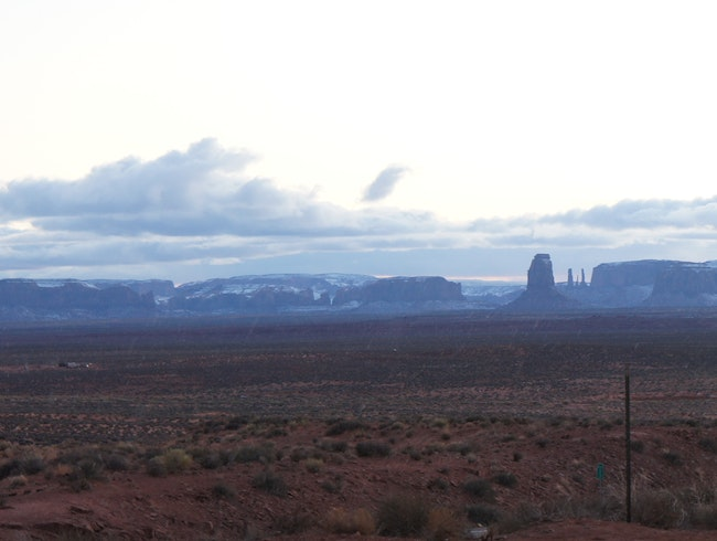 Snow capped monument valley