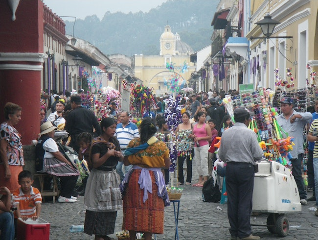 A busy market day in Antigua, Guatemala