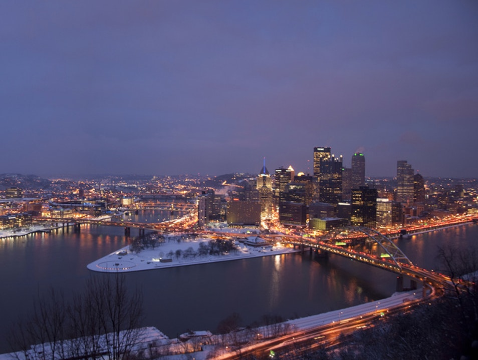 Twilight on the Duquesne Incline Pittsburgh Pennsylvania United States