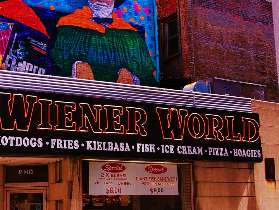 Old-School Hot Dogs at Wiener World Pittsburgh Pennsylvania United States