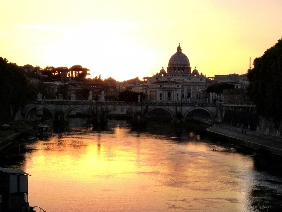 Sunset Over The Tiber River In Rome Rome  Italy