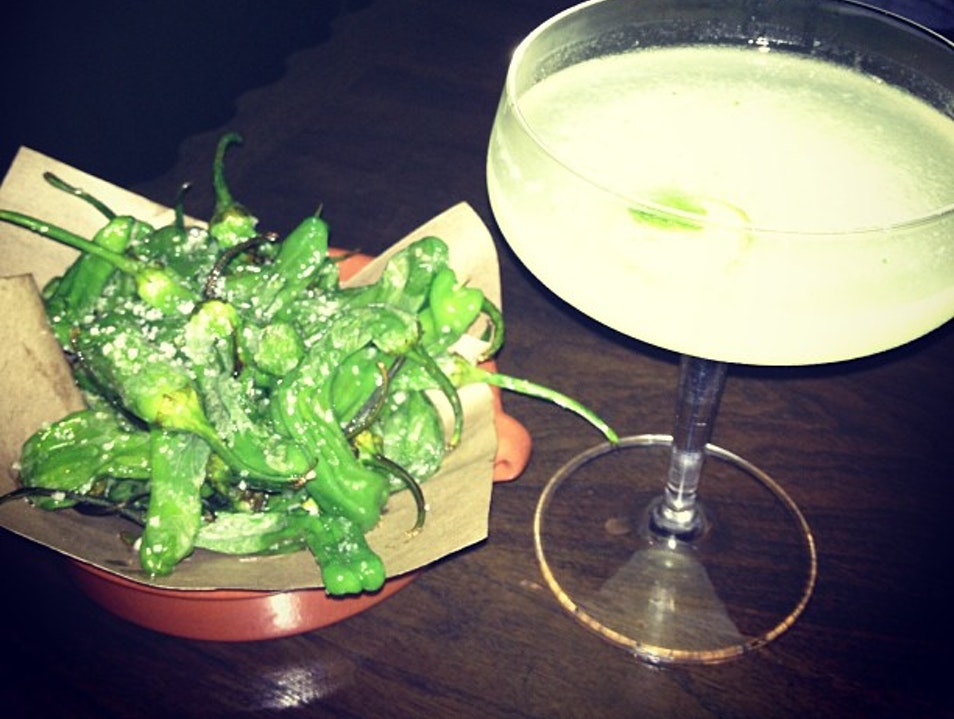 Peppers and a Gin Cocktail