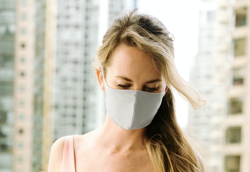The Londre face masks are available in two colors: desert sage or blush rose.