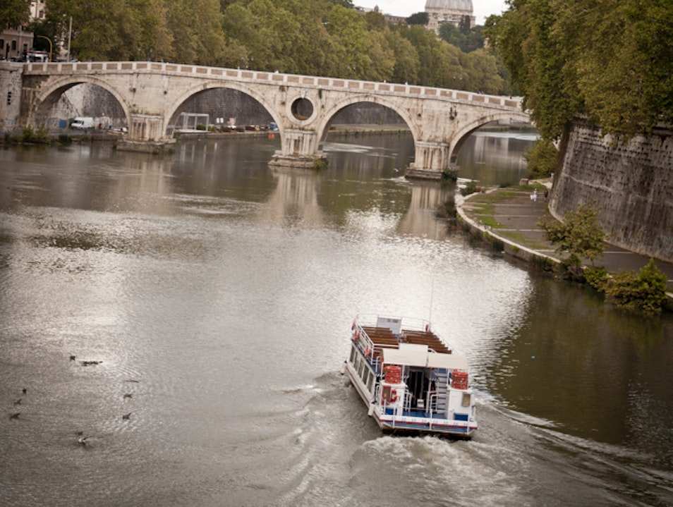 Romantic sailing along the Tiber River  Fiumicino  Italy