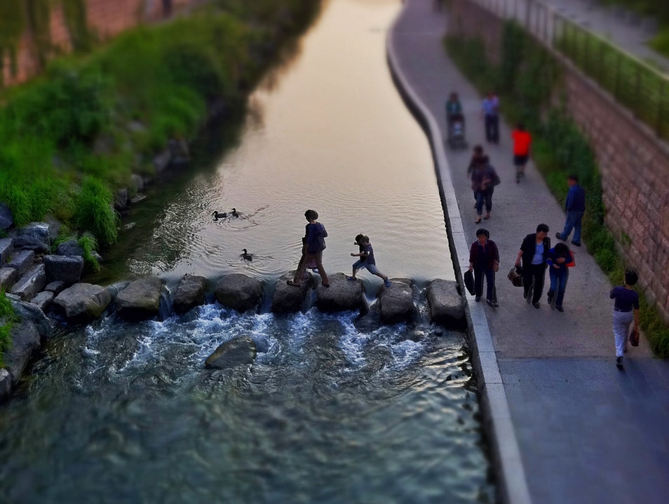 'Daylighted' in the Heart of the City—A Stream Flows Free Seoul  South Korea