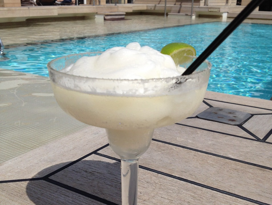 Frozen margaritas by the pool on the Seabourn Quest