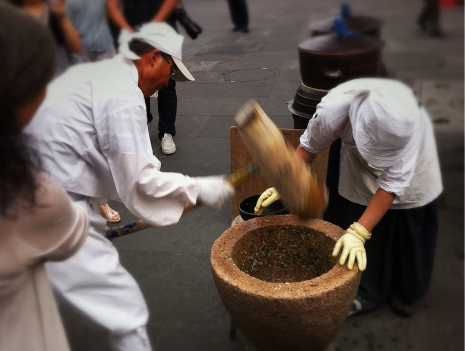 Mortar and Pestle in the Middle of the Hustle and Bustle Seoul  South Korea