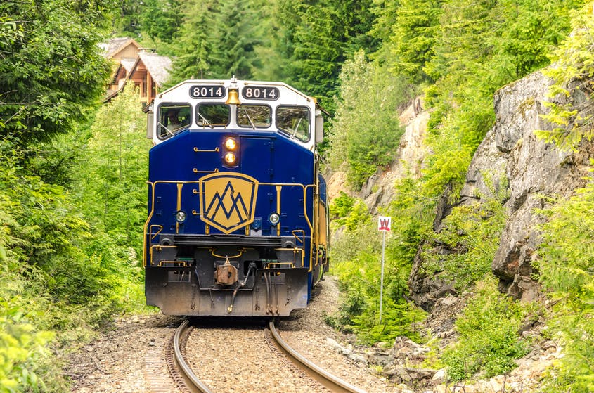 The Rocky Mountaineer pulls into its stop near Whistler.
