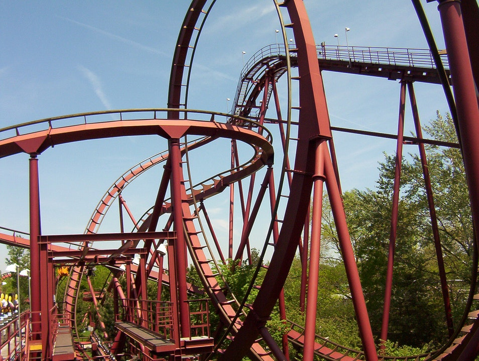 Roller Coasters and Water Slides at Six Flags
