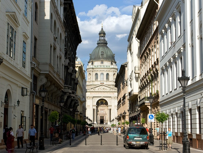St. Stephen's Basilica at the end of the street