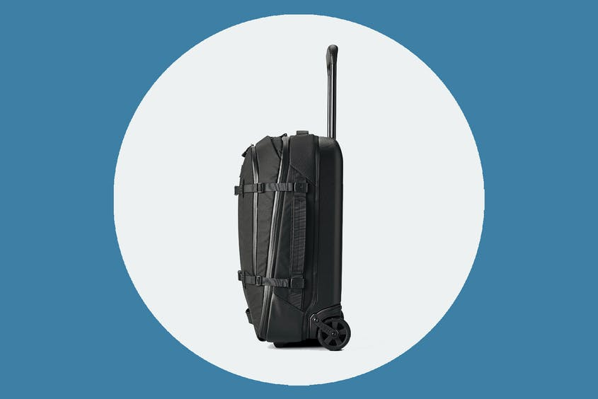 """The Yeti Crossroads 22"""" soft-sided suitcase is seen here in black."""