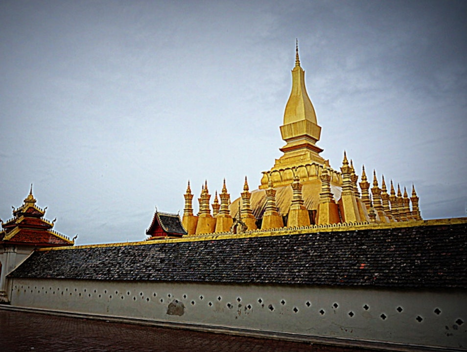 Pha That Luang in the Rain Vientiane  Laos