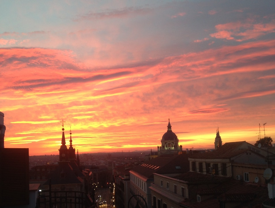 Spanish sunsets in the city Madrid  Spain