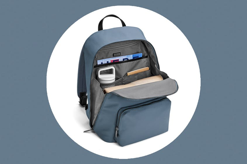 The Front Zip Backpack can fit laptops up to 15 inches and is available in Black, Coast, and Navy.