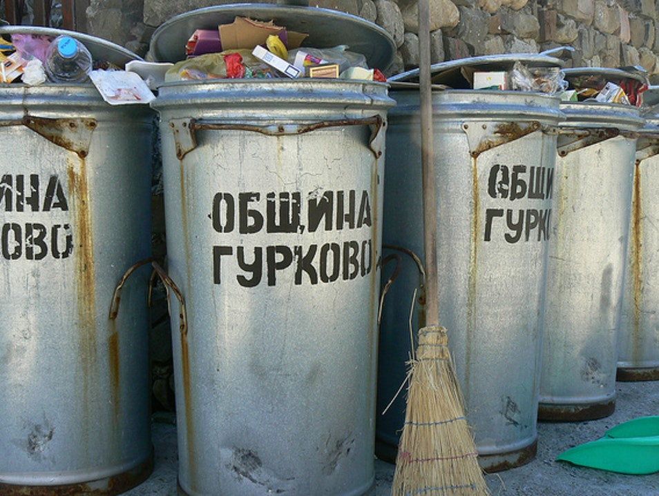 This is Bulgaria:  Trashbins in Plovdiv Plovdiv  Bulgaria