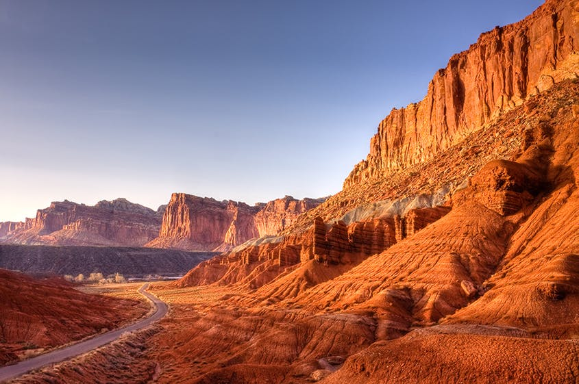 Capitol Reef is a geologic monocline, meaning there are folds in the rock-layer of the earth that makes the cliffs and canyons within the park.