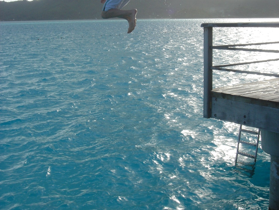 Jumping into paradise Leeward Islands  French Polynesia