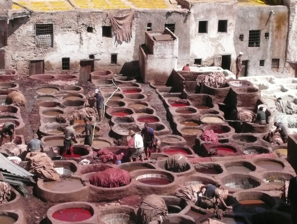 The dyeing pits in the Medina, Fez. Fes  Morocco