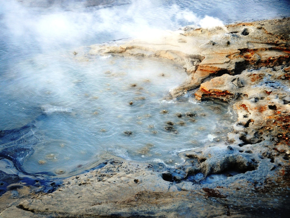 Steaming Hot Mud Pots on a Frigid Winter's Day in Iceland