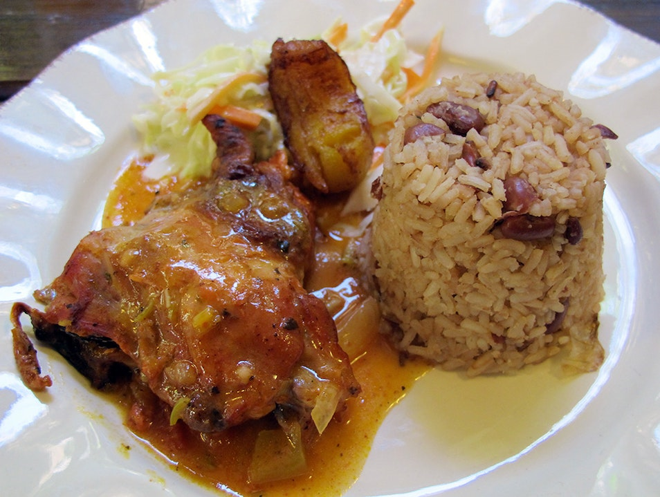 Try Rice and Beans with Stew Chicken