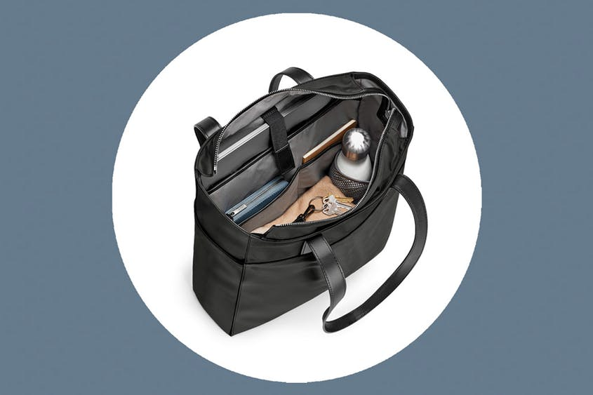 The Zip Tote, available in Black and Brick, can fit laptops up to 15 inches.