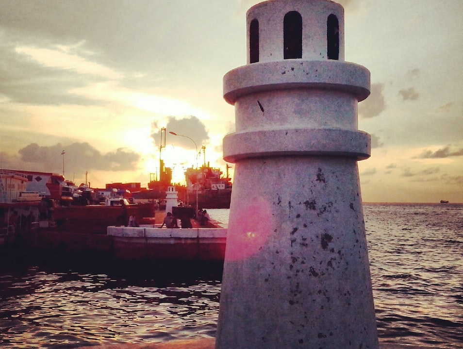 Light house and sunset Malé  Maldives
