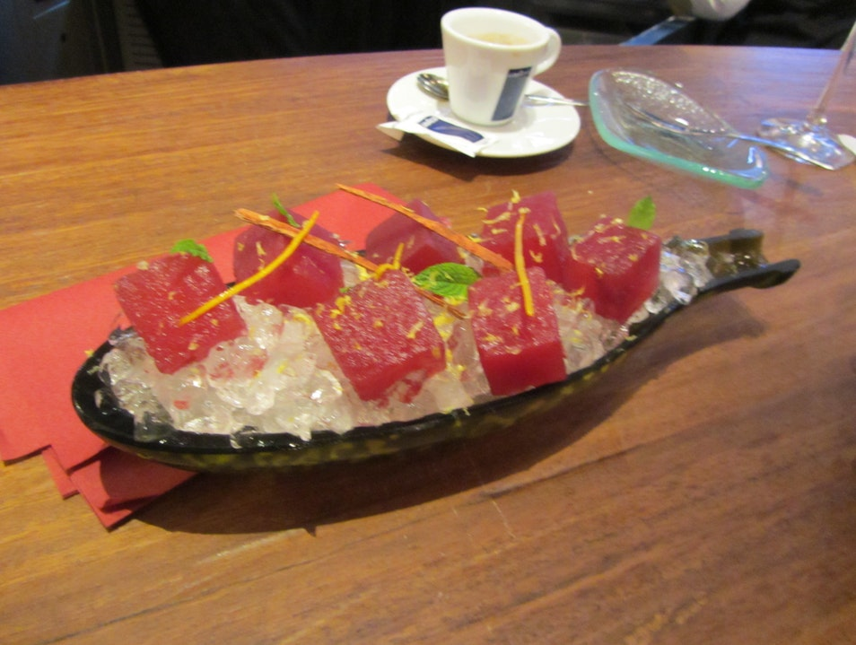 Watermelon infused with sangria at Tickets in Barcelona Barcelona  Spain