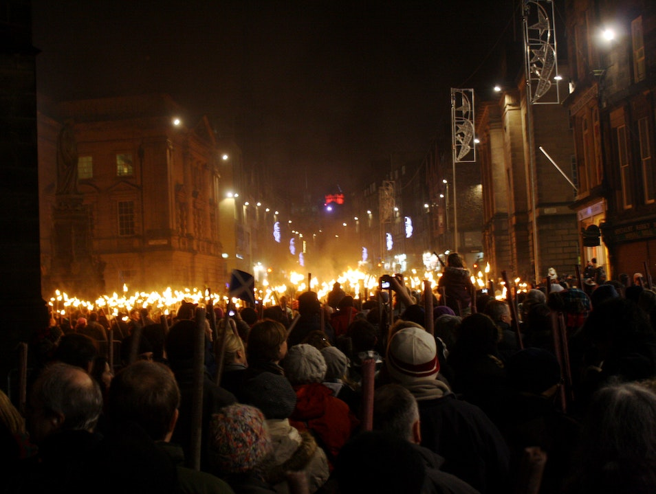 Lighting of the torches just before the new year Edinburgh  United Kingdom