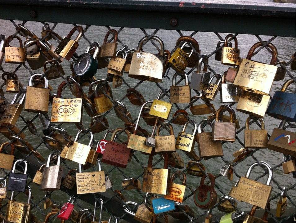 Love Locks on the Pont des Artes Paris  France