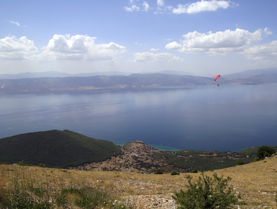 Paragliding over the Ohrid lake  National Park Galichica  Macedonia (FYROM)