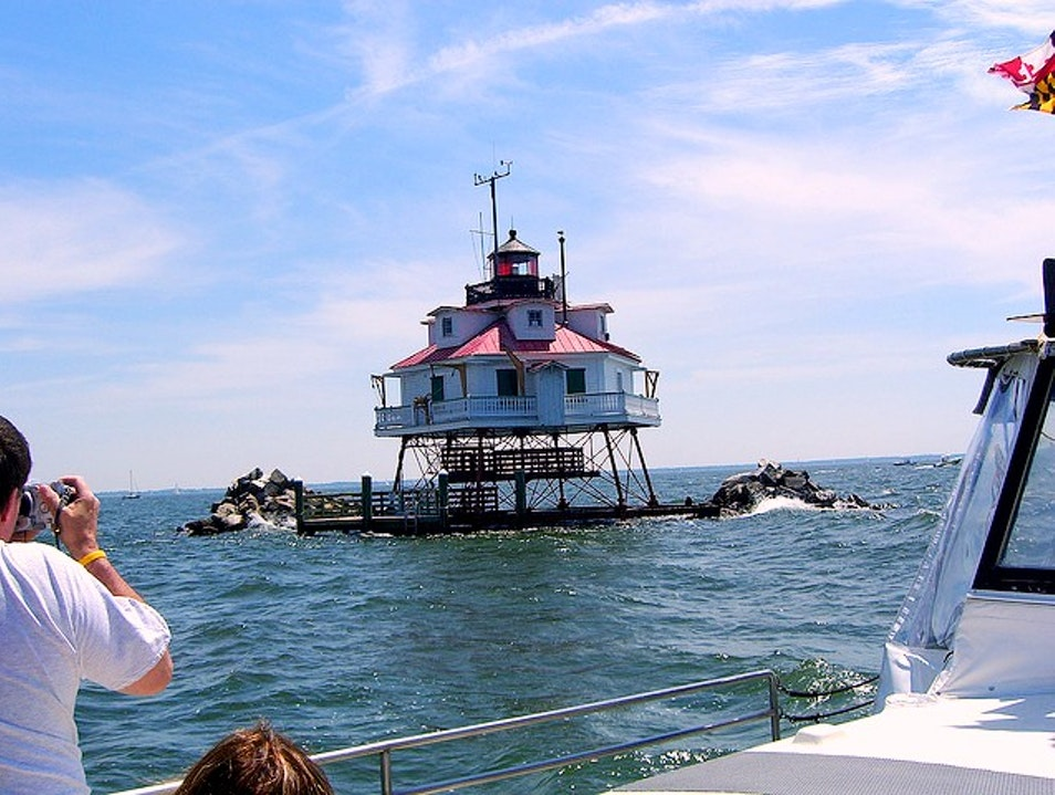 Looking out from the Thomas Point Shoal Lighthouse Annapolis Maryland United States