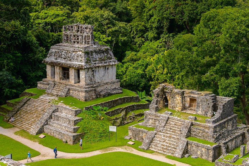The Pyramid of the Inscriptions at Palenque is covered in Maya hieroglyphs.