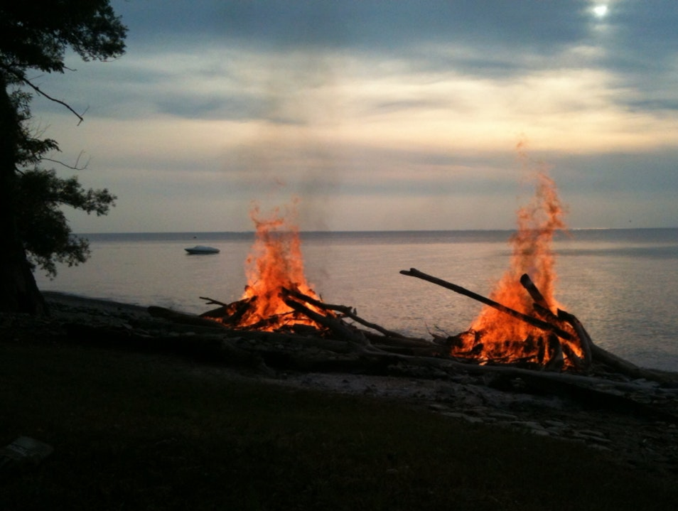 Dueling Bonfires On The Shores Of Lake Erie  North Springfield Pennsylvania United States