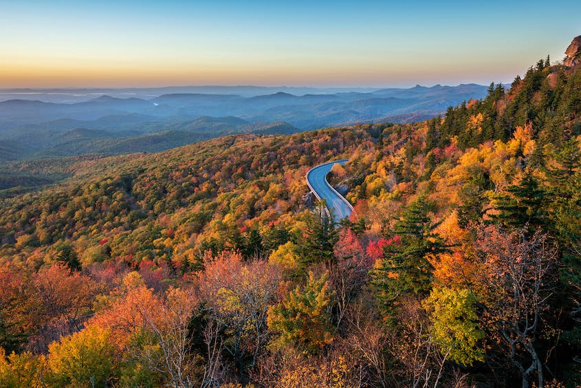 The Blue Ridge Parkway is an iconic road trip route in the United States.