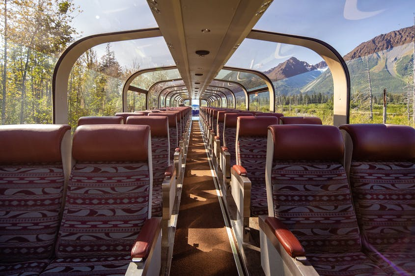 Opt for Alaska Railroad's GoldStar Service in order to access the glass-dome ceiling cars.