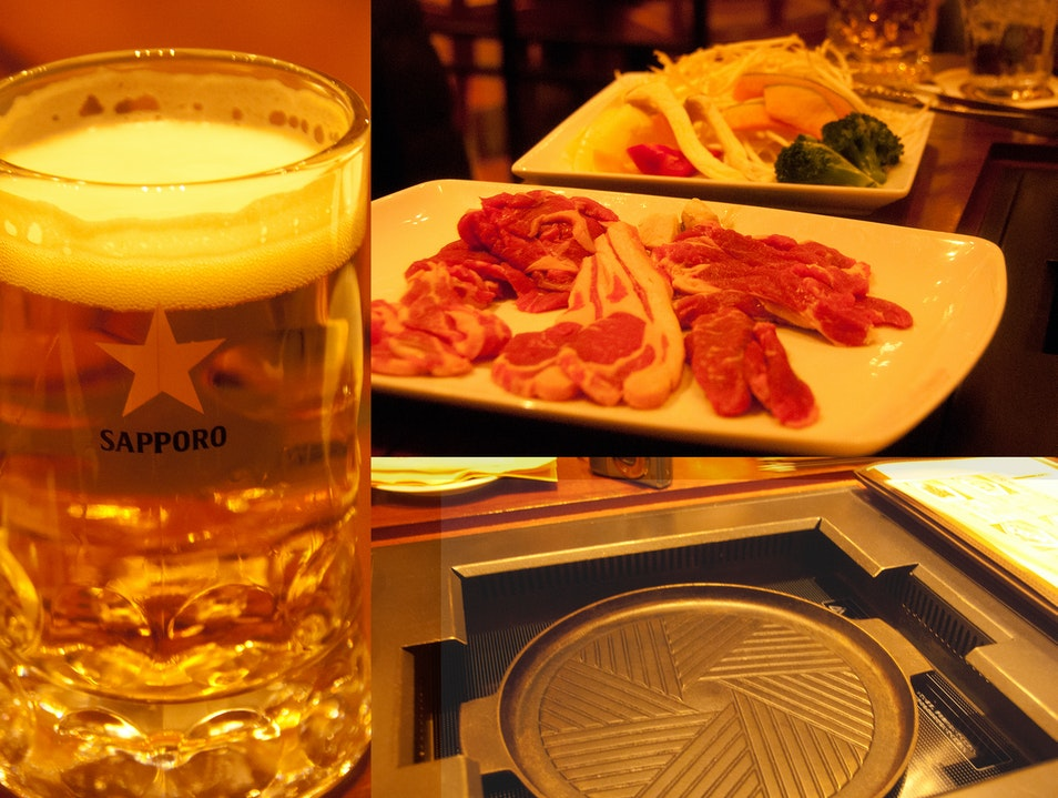 Genghis Khan Lamb BBQ with Sapporo Beer, perfect combination! Sapporo  Japan