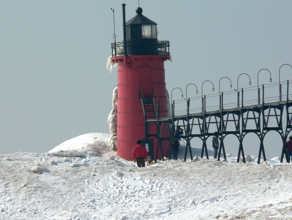 Winter on Lake Michigan South Haven Michigan United States